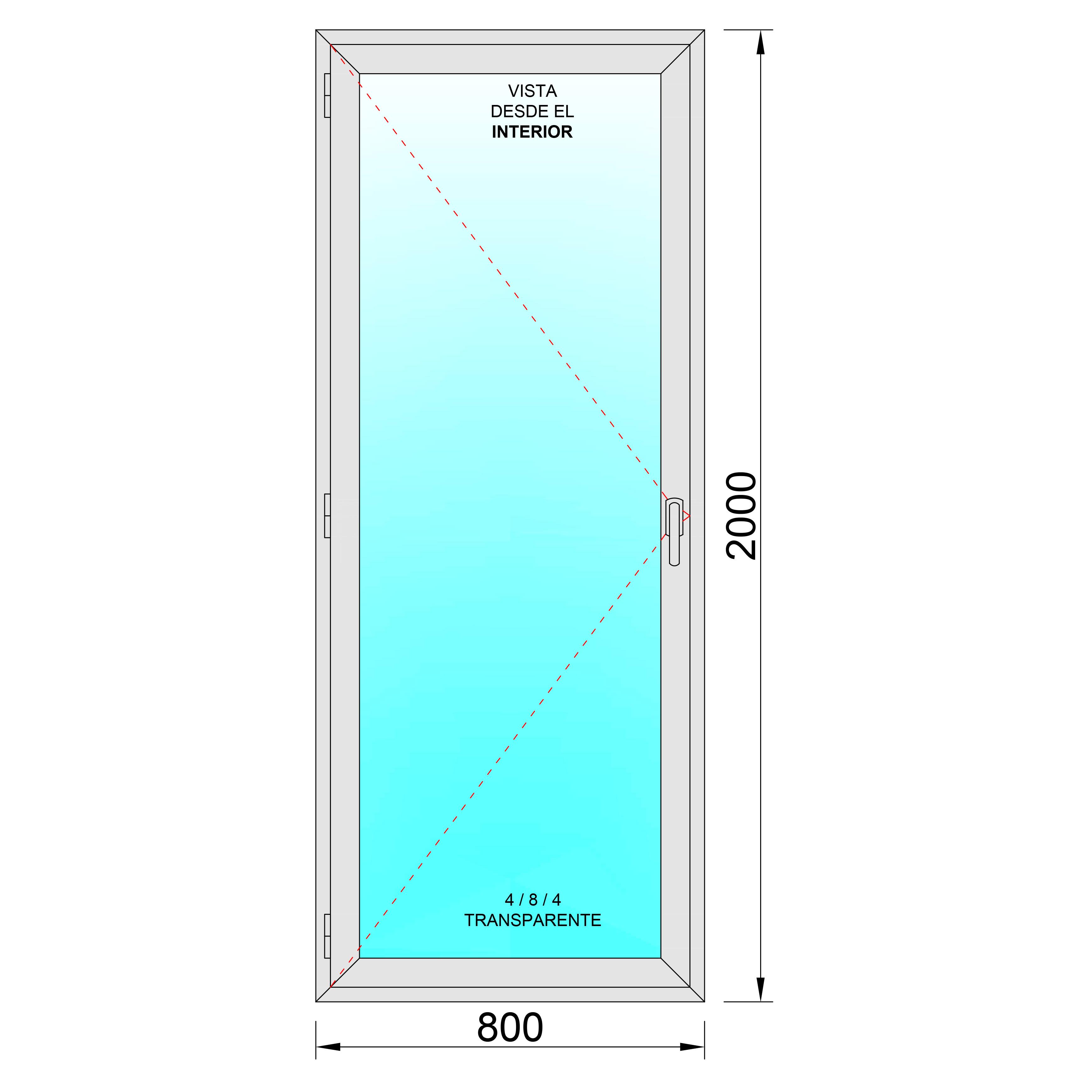 Puerta balconera aluminio practicable izquierda 800x2000 - Puerta balconera aluminio ...